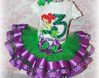 Girls Birthday 3 Piece Ariel Baby Little Mermaid Ribbon Tutu Outfit Green & Purple INCLUDES TuTu, Hairpiece, Top Pick Size, Number, Colors