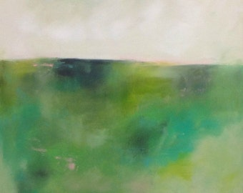 Minimalist Abstract Landscape Painting Original Art -Spring Green 22 x 28