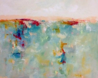 Large Colorful Abstract Seascape Original Painting -Pastel Sea 36 x 48