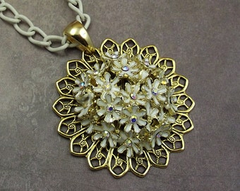 White Enamel Flower Gold Filigree Necklace, White Chain