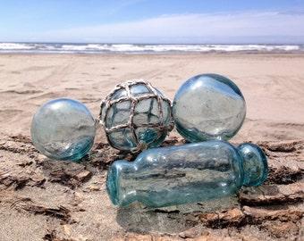 "Japanese Glass Fishing Floats - Set of 4, Hokkaido Roller, 3.2"" Floats and 2.4"" Float"