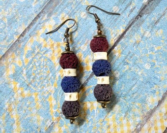Maroon, Navy Blue, Plum and Ivory Ethnic Earrings (2995)