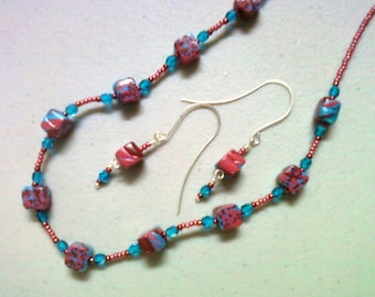 Aqua, Maroon and Pink Necklace and Earrings (0275)
