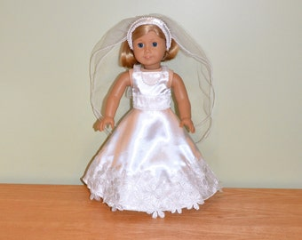 American Girl Doll Clothes -  American Girl Doll Wedding Dress and Veil, Doll Communion, Doll Bridal Gown, Doll Bride, AG Doll Gown