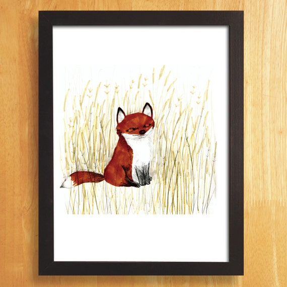 Fox Art Print, Red Fox Illustration, Fox Drawing, Digital Print, Children's wall art, Animal Art Print, A3 Print, Fox Poster