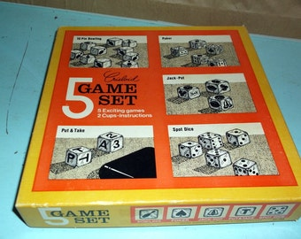 Game Set Crisloid Vintage Complete 5 Game Set 5 Dice games with 2 cups 10 Pin Bowling Poker Jack-Pot Put and Take and Spot Dice Instructions