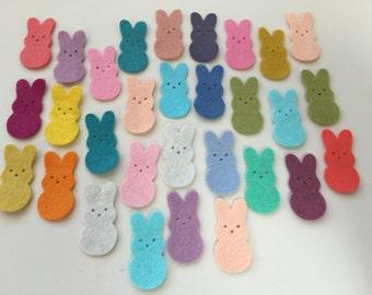 Wool Felt Die Cut Easter Bunnies 30 - 1-3/8 inch tall Random Colored. 3396