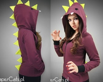 Dino hoodie neon maroon cosplay anime  dinosaur cotton