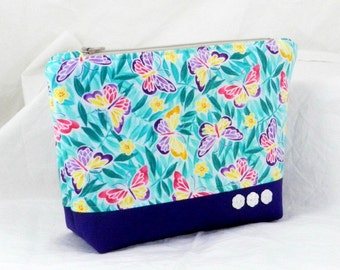 Accessory Pouch, Butterfly Fabric, Purple and Green, Handmade, Accessory, Cosmetic Bag, Clutch Purse, Shower Gift, Bridesmaid Gift