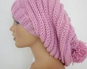 Pale Pink Knitting Hat-Pon pon hat