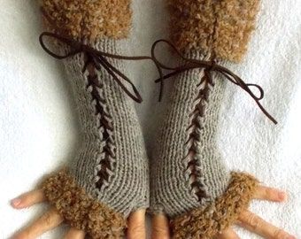 Fingerless Gloves Corset Arm Warmers  in Beige Light Brown  Victorian Style Handknitted