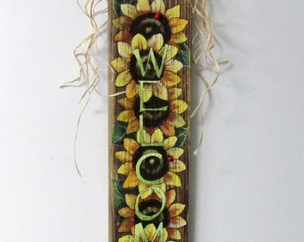 Group of Sunflowers Yellow, Light Green WELCOME Sign, Hand or Tole Painted on Reclaimed Barn Wood, Summer Time Flowers, Red Lady Bugs