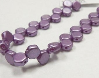 6mm Pastel Lilac Honeycomb Two Hole (30) Czech Glass 6HCPasLil