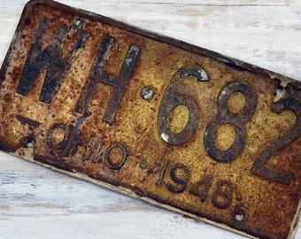 1948 Ohio License Plate - white and rustic auto license plate