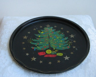Vintage Christmas Tree Metal Tray by Nashco, Hand Painted Round Rustic Retro, Black Green Red Gold