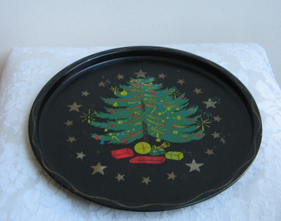 Vintage christmas tree tray by nashco hand painted metal in for Christmas tree tray floor