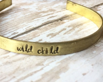 Wild Child Hand Stamped Cuff- stacking bangles, layering bracelets, mixed metals by Inspired Jewelry Designs