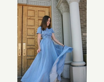 SALE 1950s Vintage Gown: Stunning Sky Blue Sharkskin Iridescent 50s Dress with Bow Details