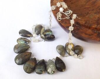 Big labradorite, briolette bib necklace, moonstone necklace, moonstone cube, sterling silver, statement necklace, something special, modern