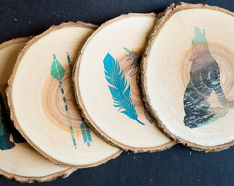 Set of 4 - Adventurer Set contains Colorful Arrows, Feathers, Rockies Wolf & Glacier Bear - Rustic Coasters
