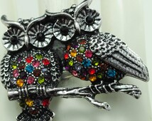 Double Multicolor Owl Ring/Rhinestone/Silver/Fall/Autumn Jewelry/Gift For Her/Bird Jewelry/Adjustable/Under 20 USD