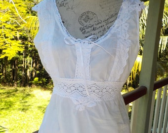 white cotton tunic, hippy boho top, alternative recycled beach summer spring, m/ large