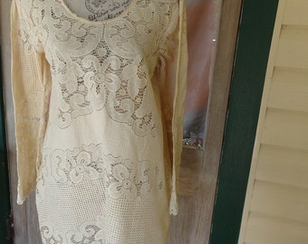 cream hippy tunic, vintage lace boho long top, s, medium