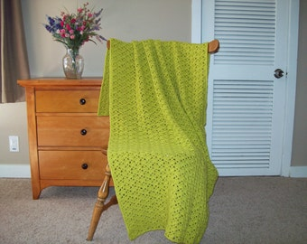"Light Green Hand Crochet Throw Blanket 60 x 38"" Solid Color Sofa Couch Lap Bed Adult lacy More colors in shop CozyHomeCrochet"