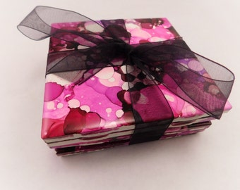 Coasters | Tile Drink Coasters | Alcohol Ink Coasters | Alcohol Ink Tiles | Handmade | Set of 4 Pink & Black | Housewarming Gift | Decor
