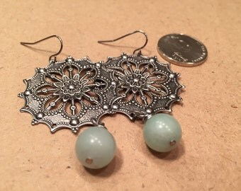 EARRINGS Antique - Look Gunmetal Silver plating Filigree Statement Jewelry Any Time any Day Funky  Bohemian Chic  Gypsy Girl Sea Foam Green