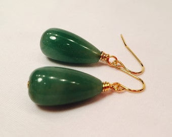 EARRINGS beautiful Green Aventurine Drop Stone Classic Simple Statement jewelry Gold Tone Wire finish Fashion forward Unique Mother's Day