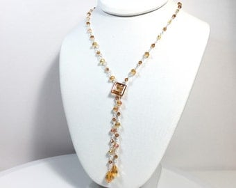 Sterling Silver Crystal Beaded Chain Lariat