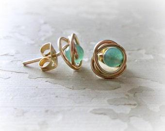 Green Stud Earrings, Gold Studs, Aventurine Posts, Wire Wrap Studs,Gemstone Posts, Green Gold Studs,Natural Stone Studs, Small Stud Earrings