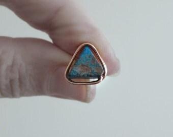Copper Stud Earrings, Southwestern Earrings, Calsilica Studs, Copper Post Earrings, Natural Stone Posts, Triangle Studs, Triangle Earrings