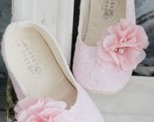 Baby Girl Shoes, Toddler Girl Shoes, Soft Sole Shoes, Wedding Shoes, Flower Girl Shoes, Pink Lace Shoes, Easter Shoes, Infant Shoes-Adelaide