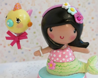 Available- Monica Mermaid~Under the Sea~Happy Birthday Cake Topper Decoration~ Cute Cake Smash ~Personalized Gift~ Little Girl's Keepsake