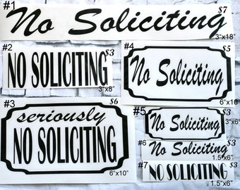 No Soliciting Sign, No Soliciting Sticker, No Solicitng Decal, No Soliciting, Front Porch Decor, Front Porch, No Solicitors