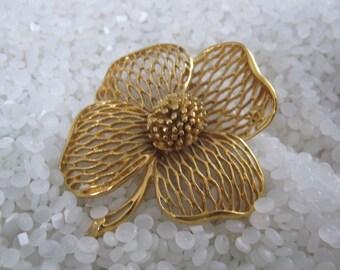 vintage  flower brooch antique gold filagree, Rogers TM
