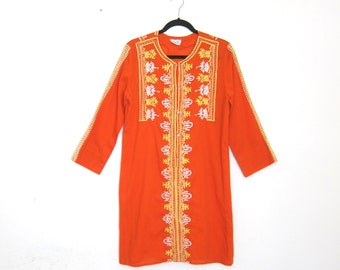 Tunic Orange Embroidered Cotton Floral Sheer Mini Dress Long Sleeve Boho Hippy Size S/M