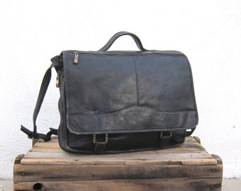 Briefcase Black Leather Distressed Leather Expandable Detail Messenger Bag