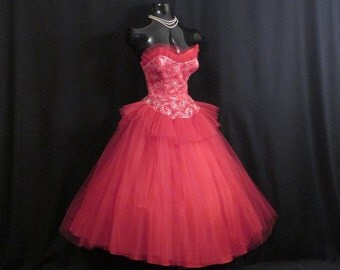 Vintage 1950's 50s Bombshell Strapless RED Tulle Silver Metallic Embroidered Party Prom DRESS Gown