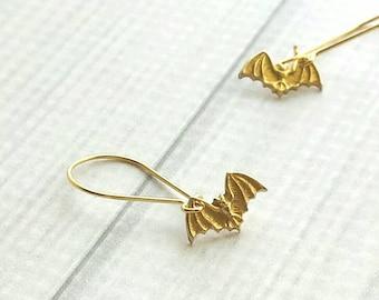 Gold Bat Earrings - tiny Halloween charm on locking kidney ear hook - trick or treat fall autumn accessory - small petite minimalist little
