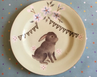 This is Happiness Little Black Bunny Vintage Illustrated Plate