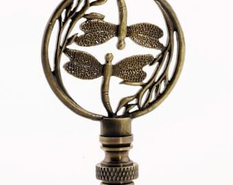 LAMP FINIAL dragonflies antique brass