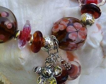 FLOWER POWER Lampwork Bracelet & Earrings