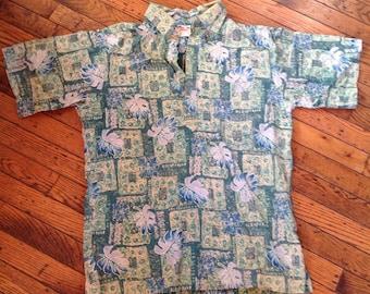 Vintage Men's Go Barefoot Hawaiian Shirt Sz Medium
