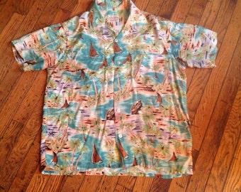 Vintage Aloha Shirts Hand Screened Single Needle Construction Rayon Japan Hawaiian Shirt Sz M