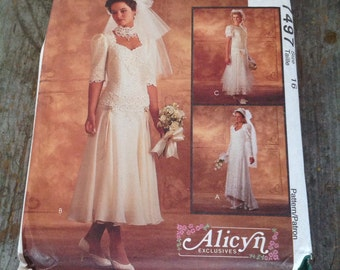 Vintage McCall's Sewing Pattern 7497 Misses' Size 16 Wedding Dress Bridesmaid Gown Alicyn