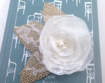 Burlap Ivory Cream Flower Hairpiece, Ivory Lace Bridal Hair Clip, Bridal Accessories, Wedding Accessories, Burlap Wedding, Rustic Wedding