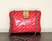 vintage woven red clutch purse - 1960s structured chain-strap box purse